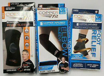 Copper Fit Compression Elbow Sleeve + Knee Sleeve & Foot / Ankle Support Large