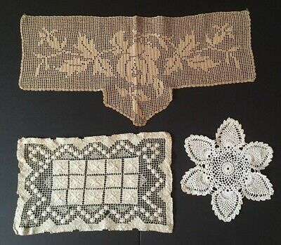 Antique Lot of Three Crochet Lace Unique Items from 19th Century Handmade Doily