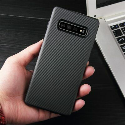 Samsung Galaxy S10 Carbon Fiber Pattern Case Cover Silicone Rubber Soft Luxury