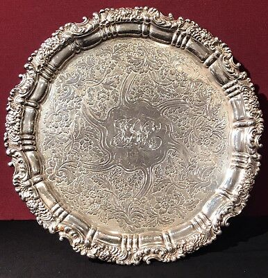 Antique Scottish Sterling Silver Footed Salver C 1825 ~ 26.29 OZT
