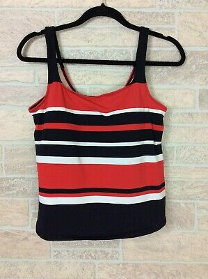 8218a55568854 Motherhood Maternity Swimsuit Top Tankini Red Navy Stripe Women Size XL