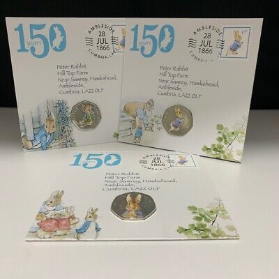 Peter Rabbit 50p Coin Covers, Beatrix Potter Coin Collection 2016, 2017 + 2018