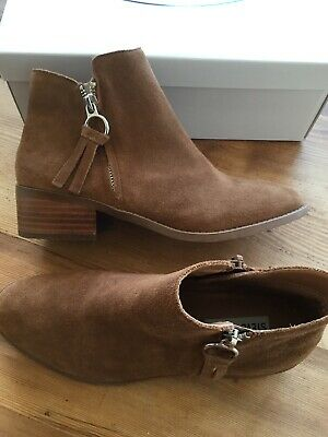 a72ea90ce58 Steve Madden Dacey Cognac Brown Suede Leather Boots Ankle Womens Size 7.5