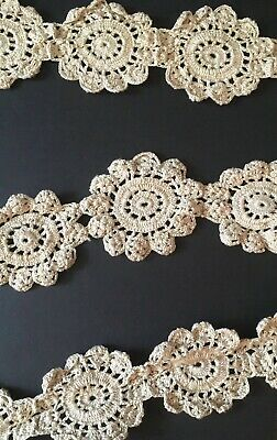 "Antique Handmade 140"" Golden Brown Crochet Lace Trim Made in late 19th Century"