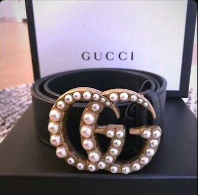 8dc7d3559 GUCCI LEATHER BELT with pearl Double G buckle size 100cm fits 34-36 ...