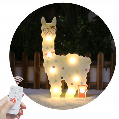 Painted Llama Marquee Signs, Alpaca Lamp Remote Timer Dimmable, Battery Operated