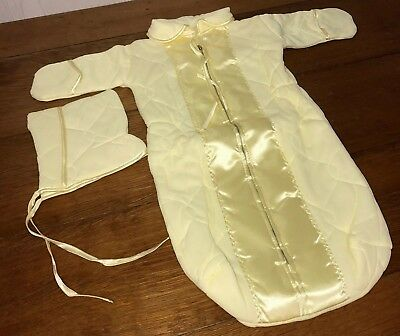 1960s Baby SLEEP SACK & Hat Sleeper Zips Yellow Quilted 0 - 6 months VINTAGE