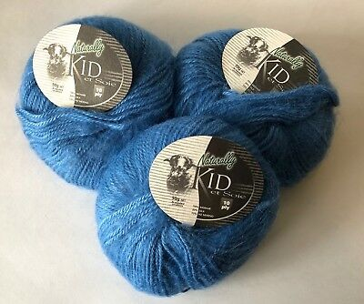 Naturally Kid et Soie Yarn Color No. 302-Sky Blue Dye Lot No. 5701 New 3 Skeins