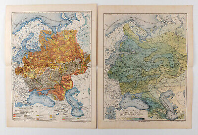 1900s Imperial Russian Soil and Precipitation MAP of European Russia 2 MAPS