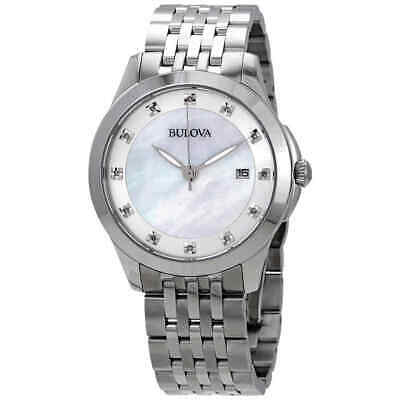 Bulova Classics Quartz Diamond White Mother of Pearl Dial Ladies Watch 96P174