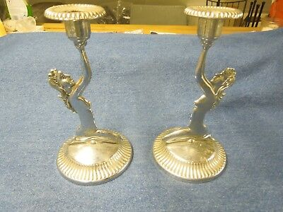 2 Vintage Kitch Deco style Chrome plated submissive female figures/candlesticks