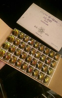 4e97f156a81 Vintage 36 Boxed Daniel Swarovski Foiled Gold Heliothrope  Crystals...jewellery