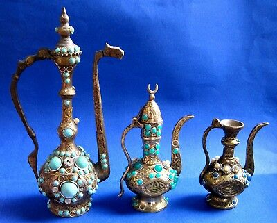 TURKISH ORNAMENTAL BRONZE & BRAS /  Kettle & PLASTIC ORNAMENTAL LOT OF 3