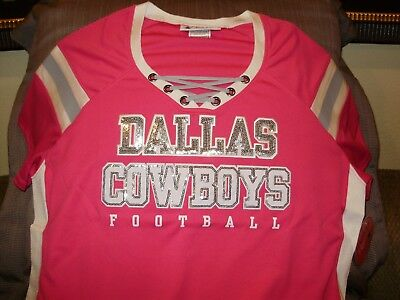NFL Dallas Cowboys Sparkle Bling Sequins Hot Pink Fitted Jersey Shirt  Women s XL 7381e18ff