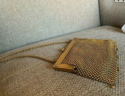 Antique Vintage German Silver linked beads Purse in Gold color /w leather lining