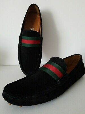 8391ed72acf90 GUCCI LOAFERS MOCCASIN Suede With Web Detail Men s Shoes Sz 12 ...