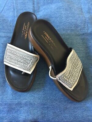 3b61a88893 Donald J Pliner Fifi Silver Beaded Leather Platform Wedge Sandal Size 7M  Italy