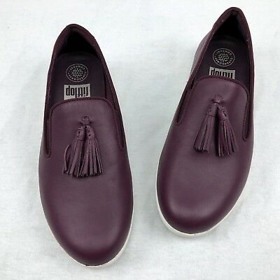 186cfc37efb Fitflop Women s Tassel Superskate Leather Loafers Wedge Shoes Deep Plum