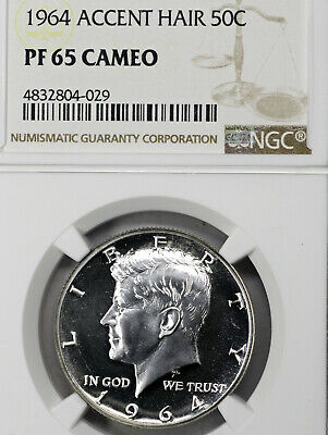 1964 PF65 Cameo Accented Hair Kennedy Half Dollar 50c Proof, NGC Graded PR65 CAM