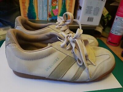 Ladies Sketchers Skechers Beige Suede  Lace Up Trainers Sz 4/37