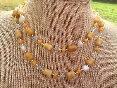 Orange Calcite and Shell Beads with White Pearls, Clear Glass Handmade Necklace