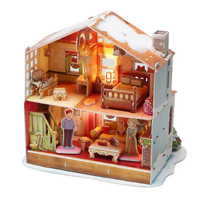 3D Wood Dollhouse Handcrafts Miniature Project DIY House Kit With LED Light