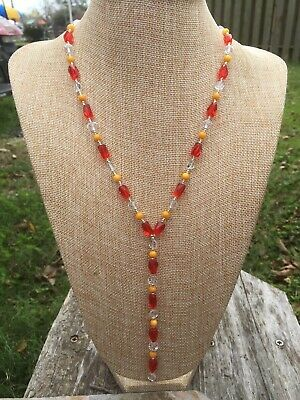 Clear and Orange Glass with Pale Orange Shell Handmade Y Necklace Silver Tone