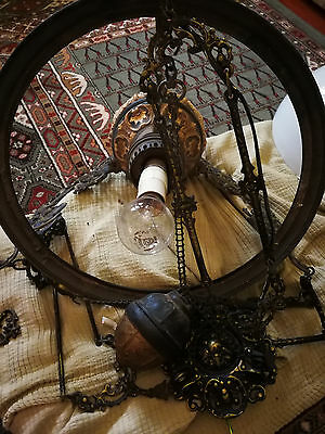"""Antique - From England """"ALADDIN"""" Working Light/Lamp Fixture in Cast Iron"""