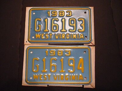 2- 1983 West Virginia Motorcycle License Plates Consecutive Numbers