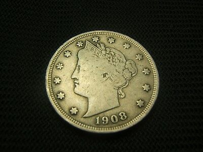 1908 Fine Old Liberty V Nickel Barber Nickel Type Coin Free Shipping !!!!!!!!!