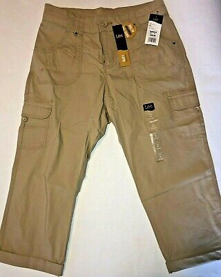 Lee Womens Size 8 Capri Pants Khaki Relaxed Fit Roll Up Convertible Cropped NWT