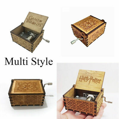 【Harry Potter 】【Game of Thrones】Tiny Music Box Engraved Wooden Hand-Cranked Toys