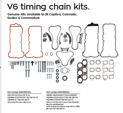 Holden V6 Commodore Genuine Timing Chain Kits.