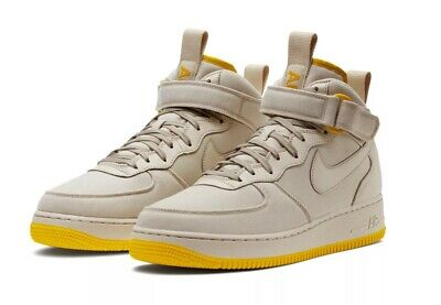 meet 3d9be e431b Mens Nike Air Force 1 Mid 07 Canvas Desert Sand Beige Yellow AH6770 002 Sz