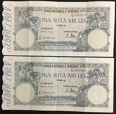 2 Romania 100000 Lei Banknotes Consecutive Serial Numbers Better Grade Condition