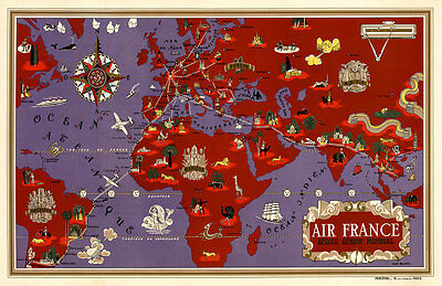 Air France Reseau Aerien Mondial 1934 Vintage A1 High Quality Canvas Print