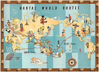 Qantas World Routes 1950 Vintage A1 High Quality Canvas Print