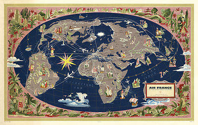 Air France-Le Plus Grand Reseau ou Monde 1961 Aerial Vintage A1 Canvas Art Print