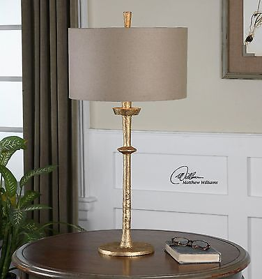 """Urban Industrial 32"""" Aged Gold Hammered Cast Iron Heraclius Table Buffet Lamp"""