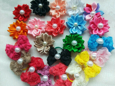 50pcs Dog Hair Bows With Rubber Bands for Cat Puppy Hair Accessories