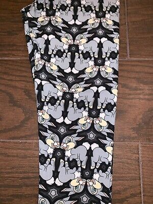 BNWT LuLaRoe Disney Tween Leggings Thumper Bunny Rabbit Bambi Black Gray