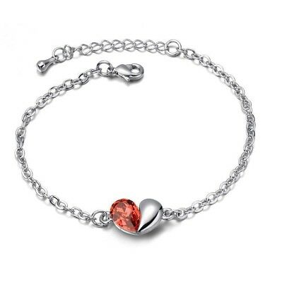Women Jewelry Love Heart Crystal Bracelet Bangle Fashion Charm Gift Red & Silver
