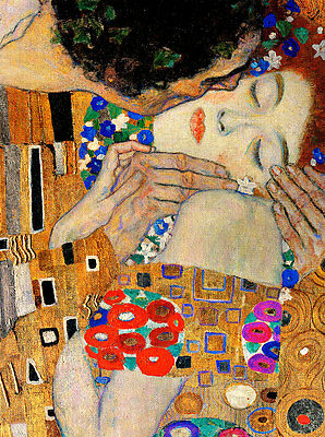 The Kiss detail by Gustav Klimt A1+ High Quality Canvas Print