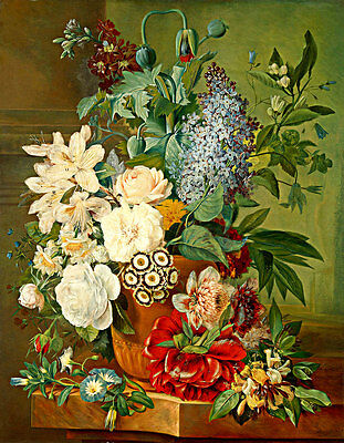 Flowers in a Terracotta Vase by Albertus Jonas Brandt A1+ High Quality Canvas