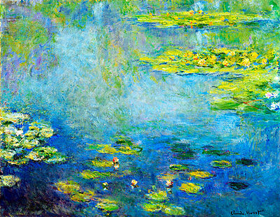 Water Lillies II A1+ by Claude Monet High Quality Canvas Print