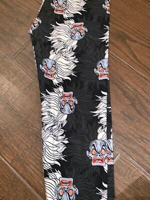 BNWT LuLaRoe Disney Tween Leggings Villains Cruella 101 Dalmatians Black Gray