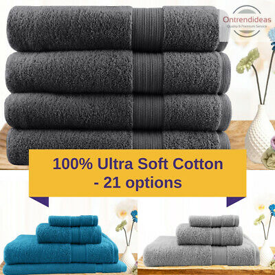 4pc 100% Ultra Soft Cotton Bath Towels | 3pc or 4pc Sets Fine Hotel Quality