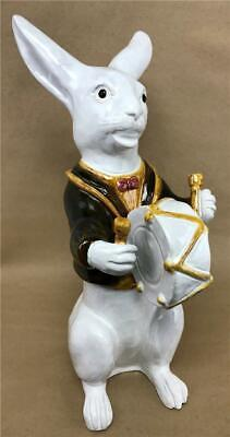 Vtg BAVENT French Faience Majolica Standing Drummer Rabbit Bunny PM 1999 Statue