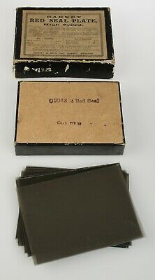 8 x Antique Glass Negative Photographs  Red Seal Plate Barret High Speed Box