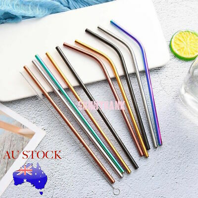 4-8x Stainless Steel Metal Drinking Straw Straws Bent Reusable Washable + Brush